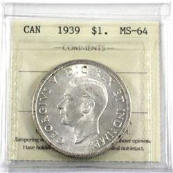 1939  Silver $1.00 ICCS certified MS-64. A near blast white coin with  exceptional eye appeal
