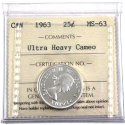 1963 25-cent ICCS Certified MS-63 Ultra Heavy Cameo! Blast white!