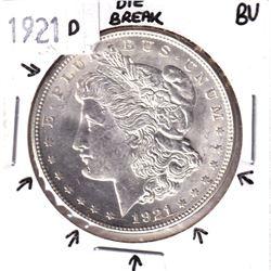 1921-D United States Morgan Silver $1 in Brilliant Uncirculated Condition. Impressive Die break arou