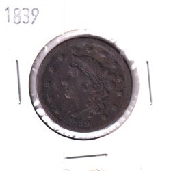 1839 United States Large 1-cent in Fine+ condition.