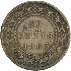 1885 Newfoundland 50-cent in Fine condition. Nice even toning throughout