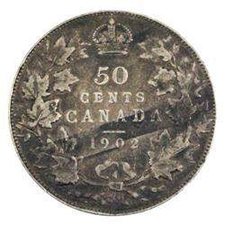 1902 50-cent in F-VF condition, medium to dark tones.