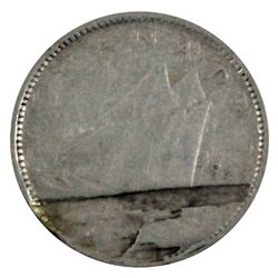 1947 Canada 10-cent with Major Lamination error across reverse. Coin is in VG-F condition, impressiv