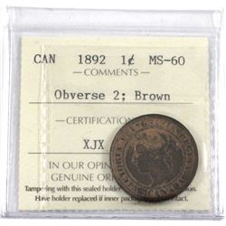 1892 Canada 1-cent Obverse 2 ICCS Certified Obverse 2 ICCS Certified MS-60 Brown.