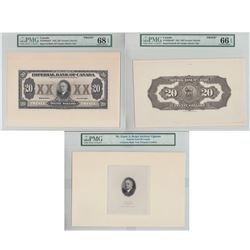 1933 375-20-06a  Imperial  Bank of Canada FP & BP  3 Piece Proof Banknote set with brown Tint   (*Pl