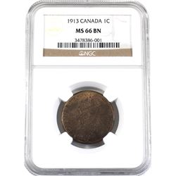 1-cent 1913 NGC Certified MS-66 Brown. A high grade coin with traces of Mint red throughout.