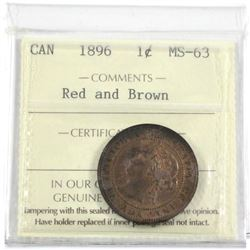 1896 Canada 1-cent ICCS Certified MS-63 Red and Brown.