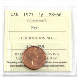 1977 Canada 1-cent ICCS Certified MS-66 Red.