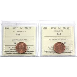 1997 & 1998 Canada 1-cent ICCS Certified MS-66 Red. 2pcs