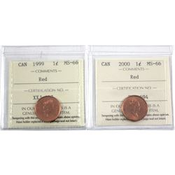 1999 & 2000 Canada 1-cent ICCS Certified MS-66 Red. 2pcs