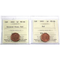 2002 Rotated Dies & 2003 Old Effigy Canada 1-cent ICCS Certified MS-66. 2pcs
