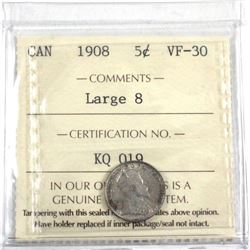 1908 Canada Large 8 ICCS Certified VF-30.