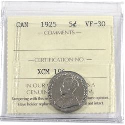 1925 Canada 5-cent ICCS Certified VF-30.