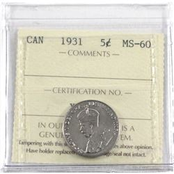 1931 Canada 5-cent ICCS Certified MS-60.