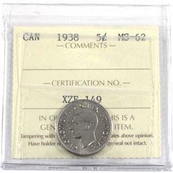 1938 Canada 5-cent ICCS Certified MS-62.