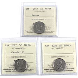 2017 Canada 5-cent ICCS Certified MS-66, 2017 Canada 150 5-cent MS-66 & 2018 5-cent MS-65. 3pcs