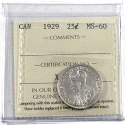 1929 Canada 25-cent ICCS Certified MS-60.