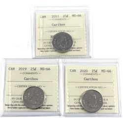 2017, 2019 & 2020 Canada 25-cent ICCS Certified MS-66. 3pcs