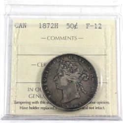 1872H Canada 50-cent ICCS Certified F-12.