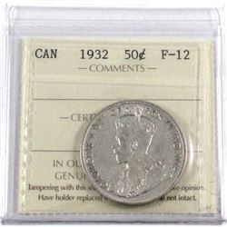 1932 Canada 50-cent ICCS Certified F-12.
