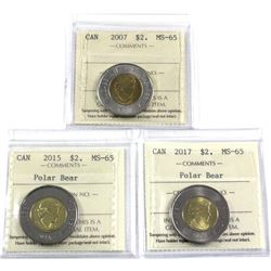 2007, 2015 & 2017 Canada $2 ICCS Certified MS-65. 3pcs