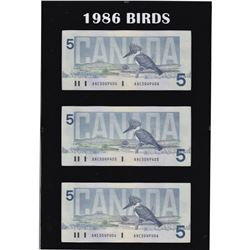 *1986 Birds of Canada $5 4-Digit RADAR Serial Number Banknote Set in Hard Plastic Holder Featuring t