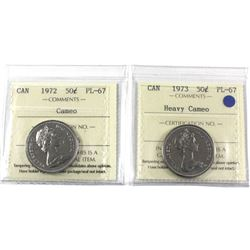 50-cent 1972 Cameo & 1973 Heavy Cameo ICCS Certified PL-67. 2pcs. Top grade for ICCS!