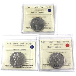 50-cent 1969, 1970, & 1974 ICCS Certified PL-66 Heavy Cameo 3pcs.