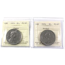 $1 Canada 1970 Cameo & 1976 ICCS Certified PL-67 2pcs. Top Grade for ICCS!