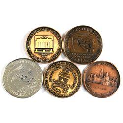 1967, 1976 & 1980 CNA/ONA Ottawa Silver and Bronze Medals. 5pcs
