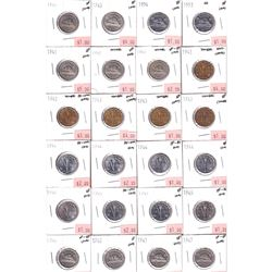 1940-1954 Canada 5-cent Fine to BU (Coins contain various impairments). 48pcs