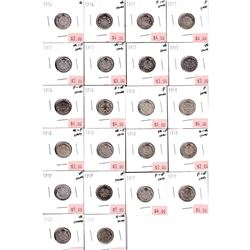 1903-1920 Canada 10-cent Filler to VF (Coins contain various impairments). 37pcs