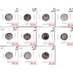 1921-1936 Canada 10-cent G-VG to VF (Coins contain various impairments). 11pcs