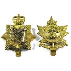 Canadian WWII Brass Cap Badges - 'Fior Go Bas' & 'Les Fusiliers de Sherbrooke - Driot Au But'. 2pcs