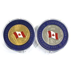 1867-1967 Canada Confederation 'Canada's Own Flag' Enameled Medallions in Plastic Capsules. You will