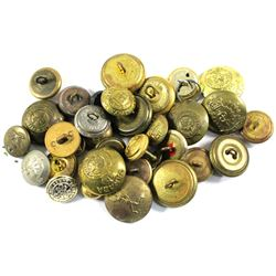 Lot of Assorted Canada Metal Military Buttons. 32pcs
