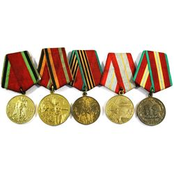 Group Lot of Russian War Medals. You will receive 1945-1965, 1945-1975, 1945-1985, 1918-1978 & 1918-