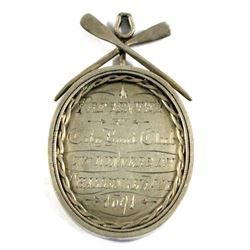 1891 Silver Award pendant for 1st place in the City Boat Club Challenge Race.