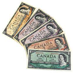 1954 Bank of Canada $1, $2, 2x $10 & $50 Notes All Beattie-Rasminsky Signatures Except the $1 Beatti