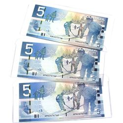 Lot of 3x 2006, 2008 & 2010 Bank of Canada Journey Series $5 Notes with 3 & 4 Digit RADAR Serial Num