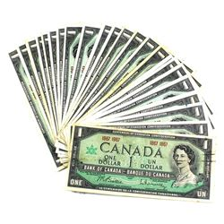 30x 1967 Bank of Canada $1 Centennial Commemorative No Serial Number Notes in Average Condition. 30p