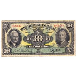 1938 220-28-04 The Dominion Bank $10, VG-F (Note contains a couple very small pinholes and some writ
