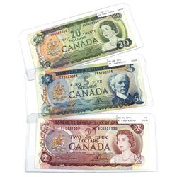 1969-1974 Bank of Canada $2, $5 & $20 Multi-coloured Series Notes with 3 Digit RADAR Serial Numbers