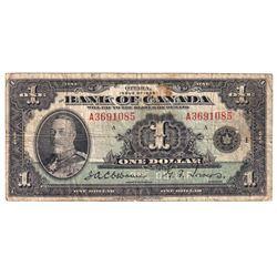 1935 BC-1 $1, Bank of Canada, English, A, VG (Damaged).