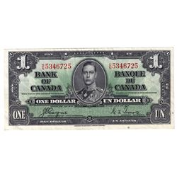1937 BC-21d $1, Bank of Canada, Coyne-Towers, D/N5346725, AU (Minor Pinholes).