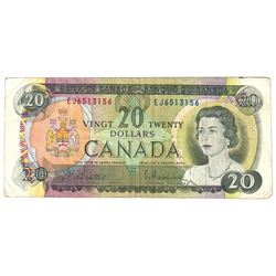 1969 BC-50a Bank of Canada $20 Note with 4 Digit RADAR Serial Number EJ6513156.