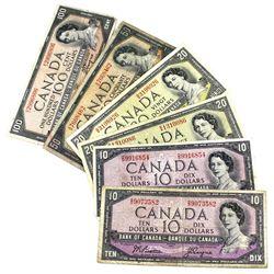 1954 Bank of Canada 2x $10, 2x $20, $50 & $100 Modified Portrait Notes All Beattie-Coyne Signature E