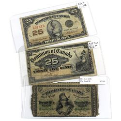 1870, 1900 & 1923 Dominion of Canada 25c Banknotes. You will receive one example of each year printe