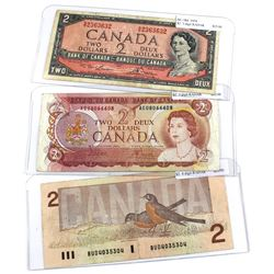 1954, 1974 & 1986 Bank of Canada $2 Notes with 3 & 4 Digit RADAR Serial Numbers - 1954 BC-38d 3 Digi