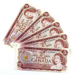 1974 BC-47a Bank of Canada $2 Notes Lawson-Bouey Signatures with Consecutive Serial Numbers RL572869